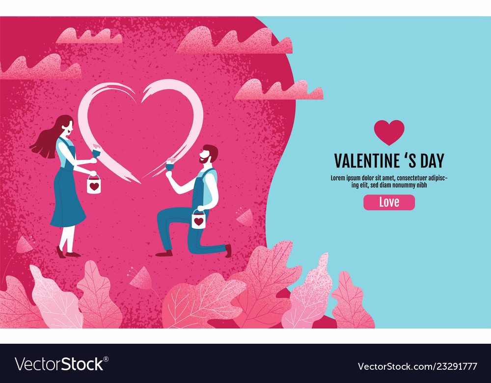 Lovers together paint a heart shapevalentine s