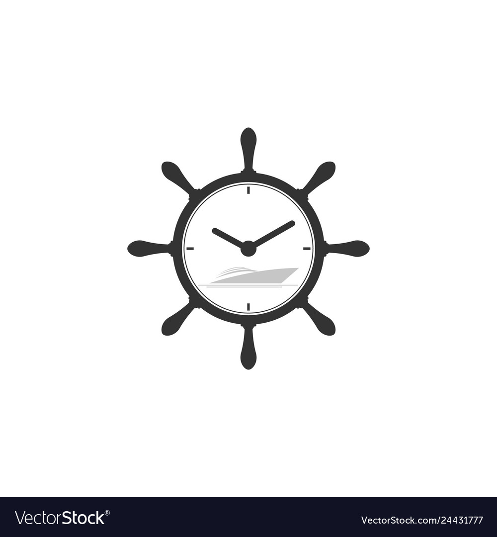 Marine symbol with yacht and clock symbol