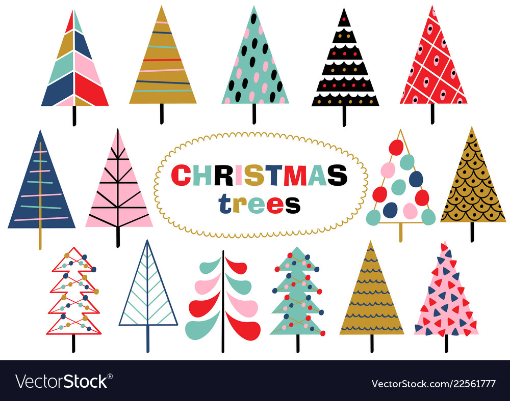 Set of isolated christmas trees