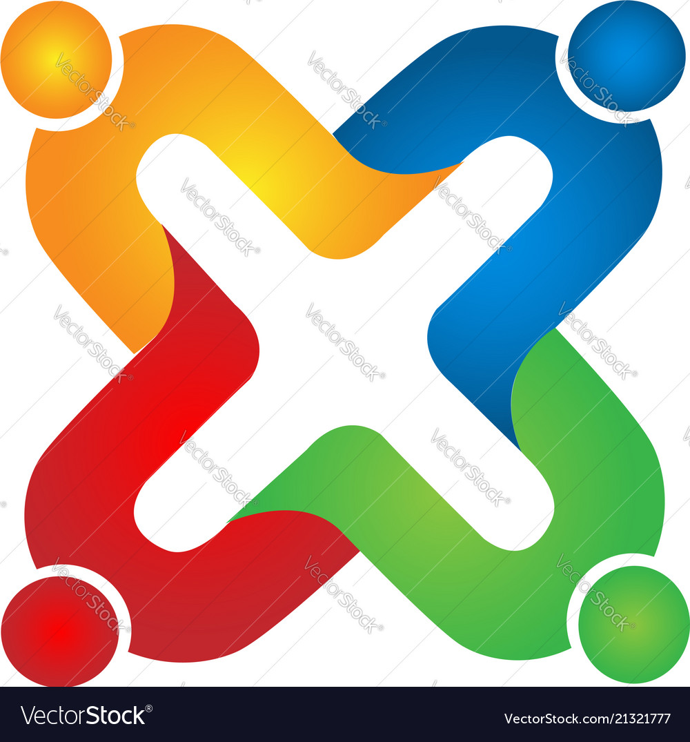 Team of people holding hands logo Royalty Free Vector Image