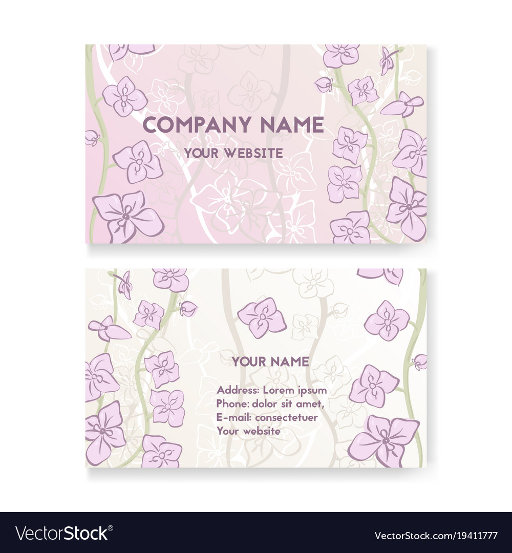 Template business card for flower shop Royalty Free Vector