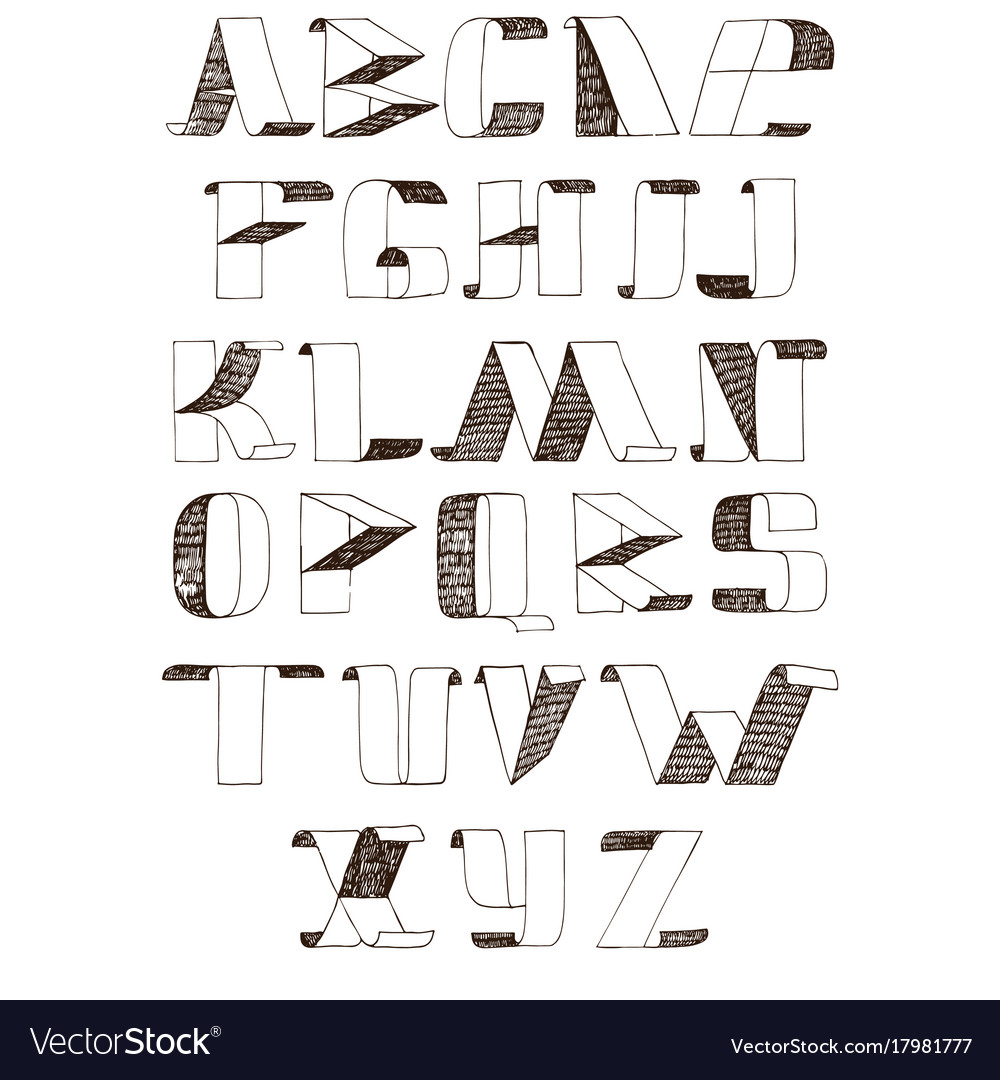 With hatch font letters from a vector image