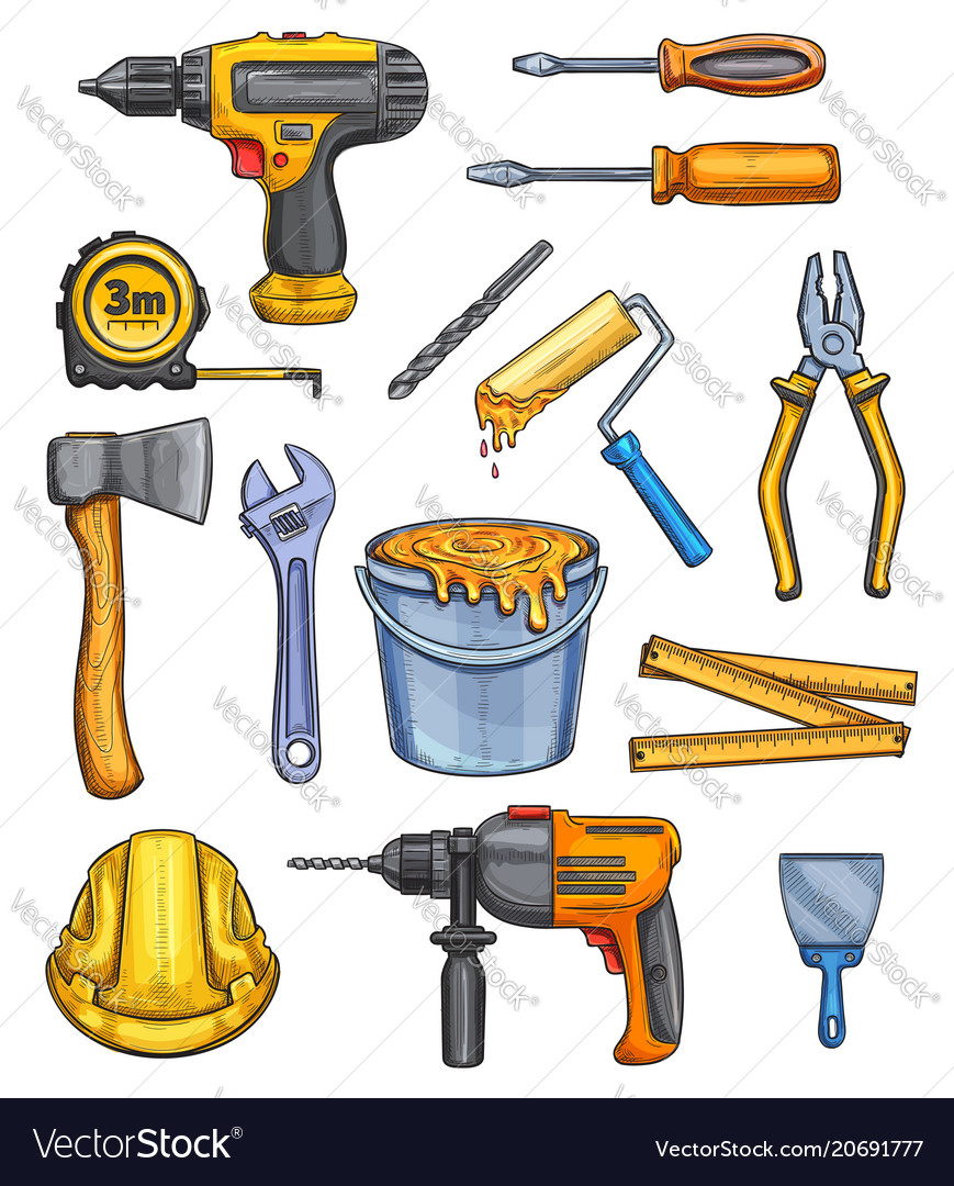 Work tools home repair color sketch icons