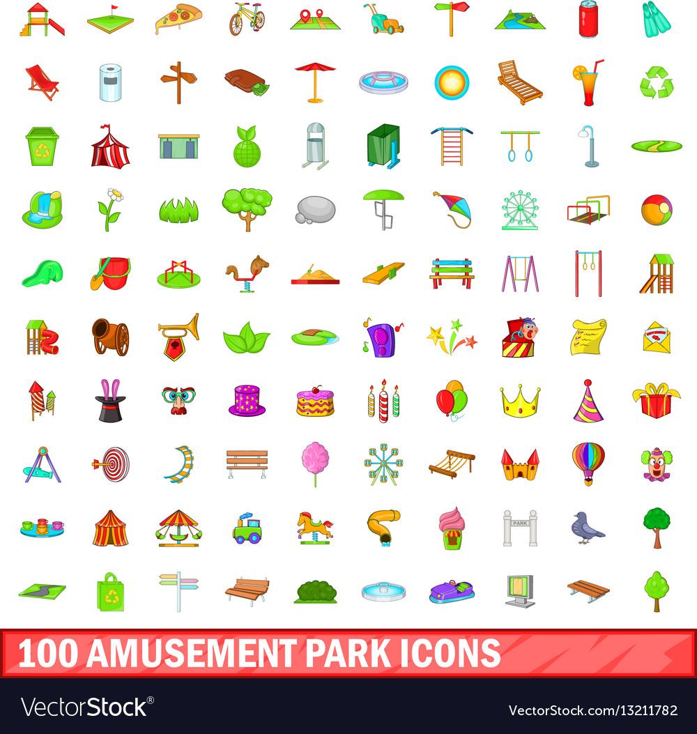100 amusement park icons set cartoon style