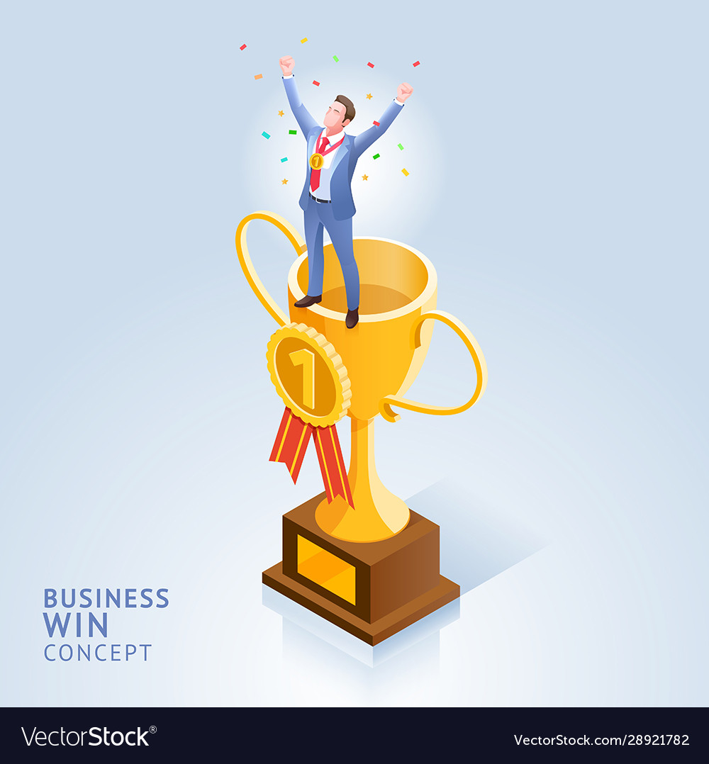 Businessman standing on top trophy cup