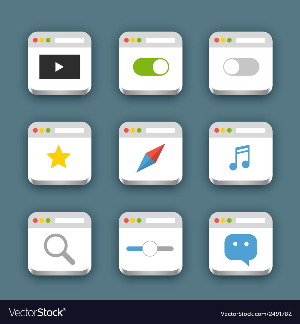 Different web icons set with rounded corners