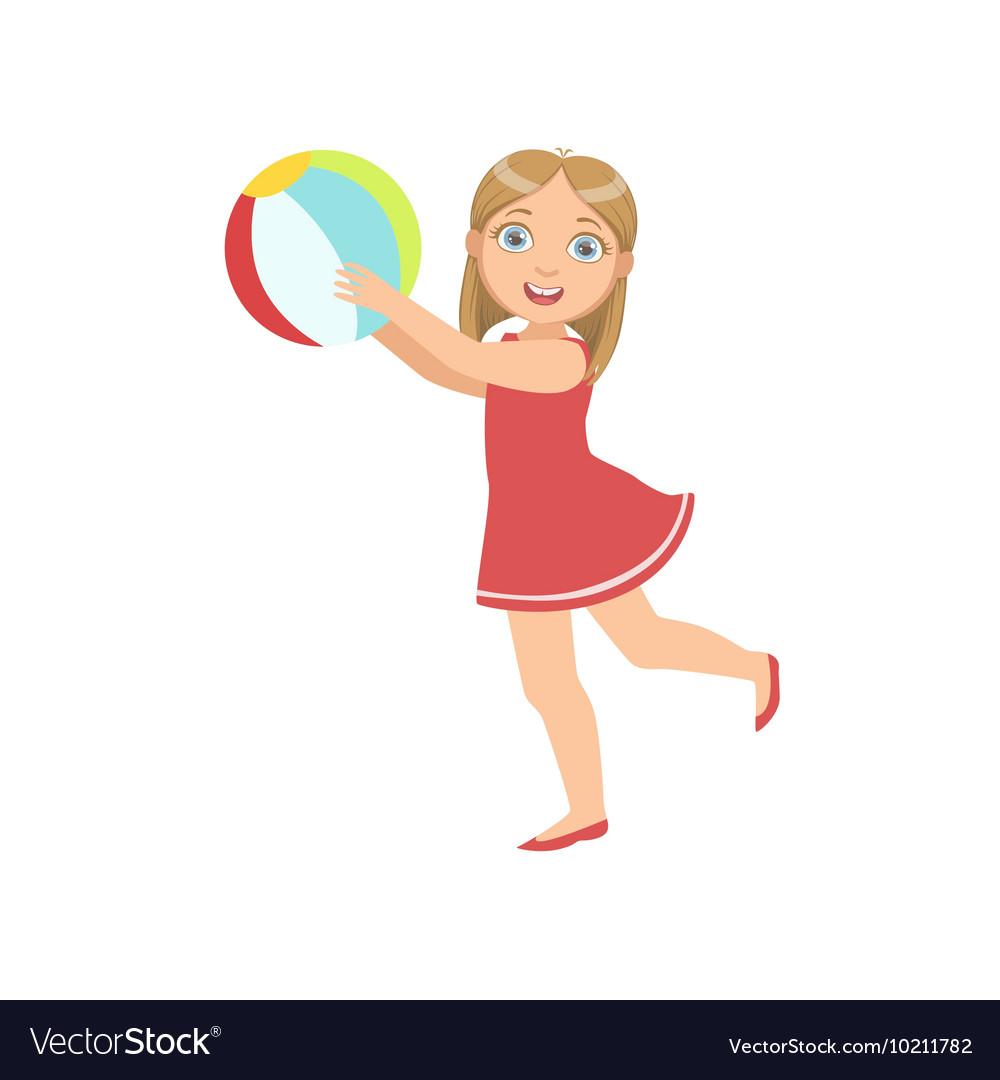 Девочка играет в мяч картинка