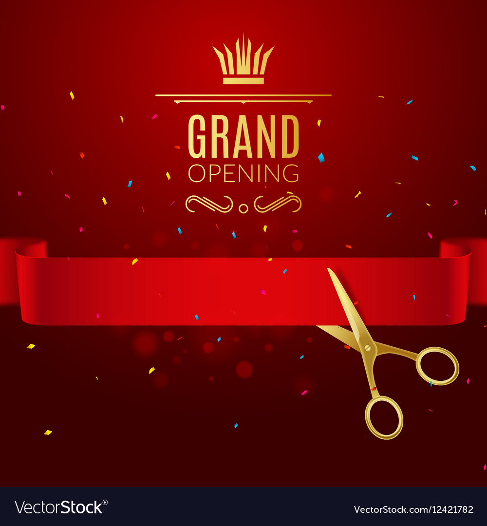 Grand Opening design template with ribbon and