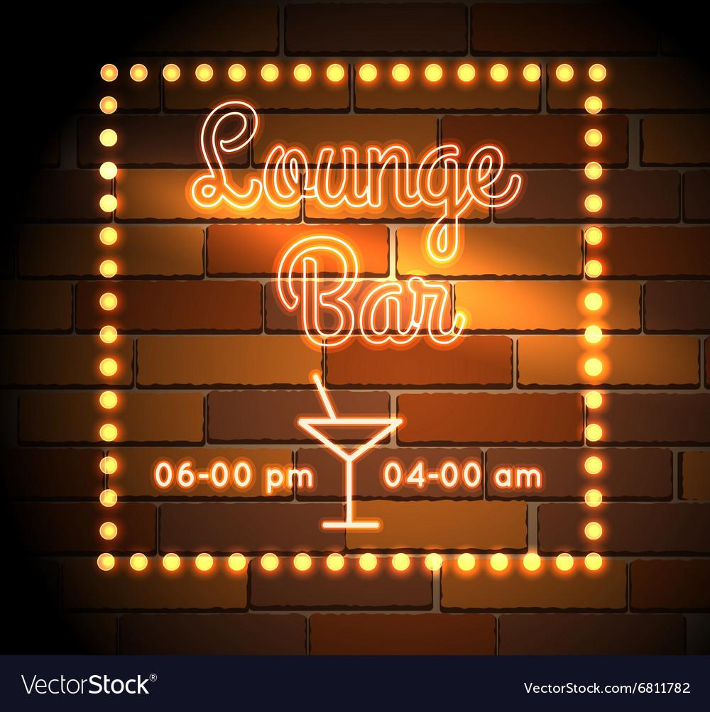 Lounge Bar neon Sight vector image