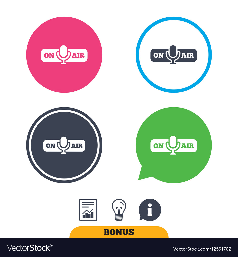 On Air Sign Icon Live Stream Symbol Royalty Free Vector