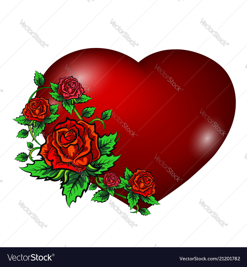 Red heart and roses
