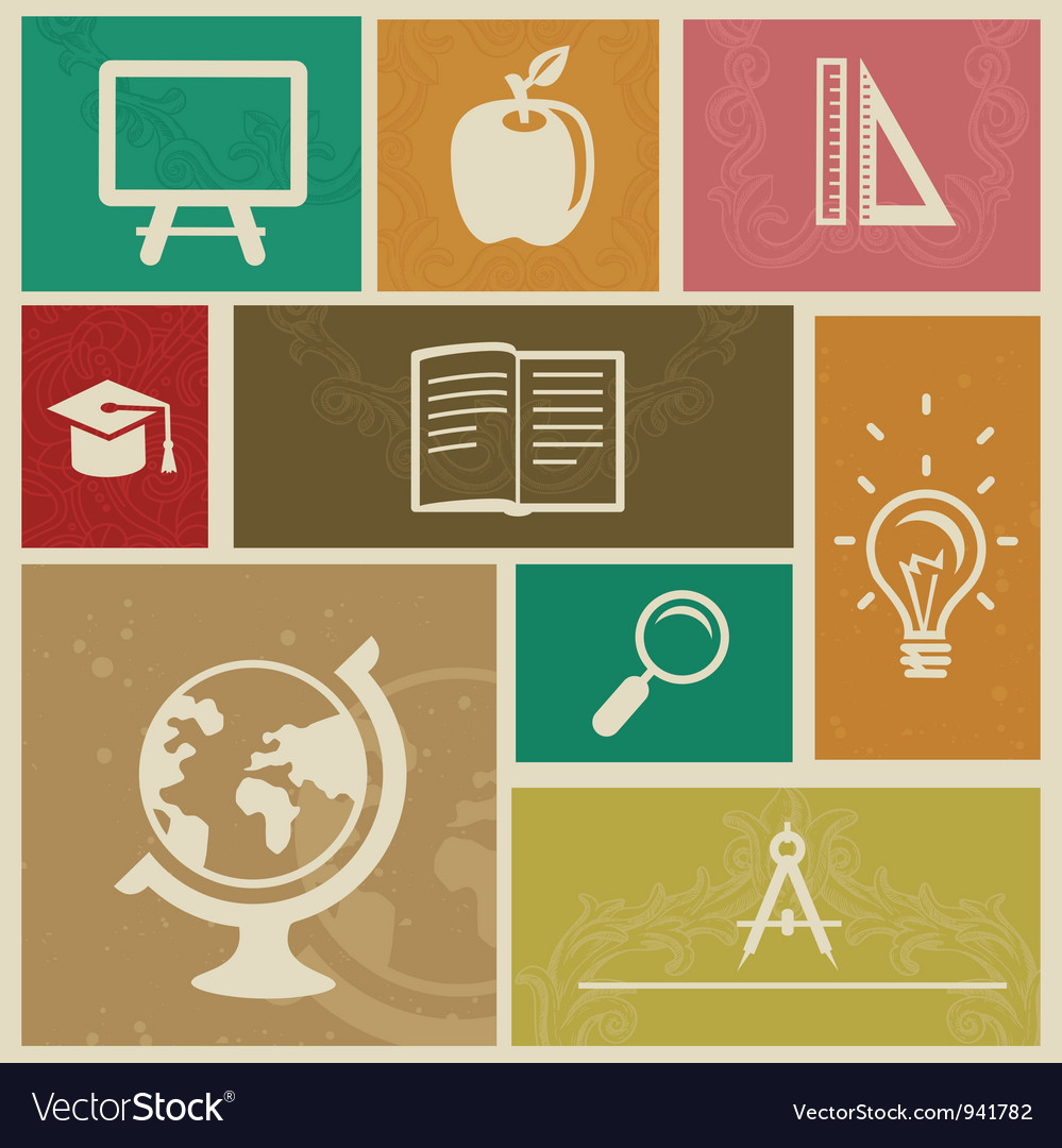 Set with vintage education labels vector image