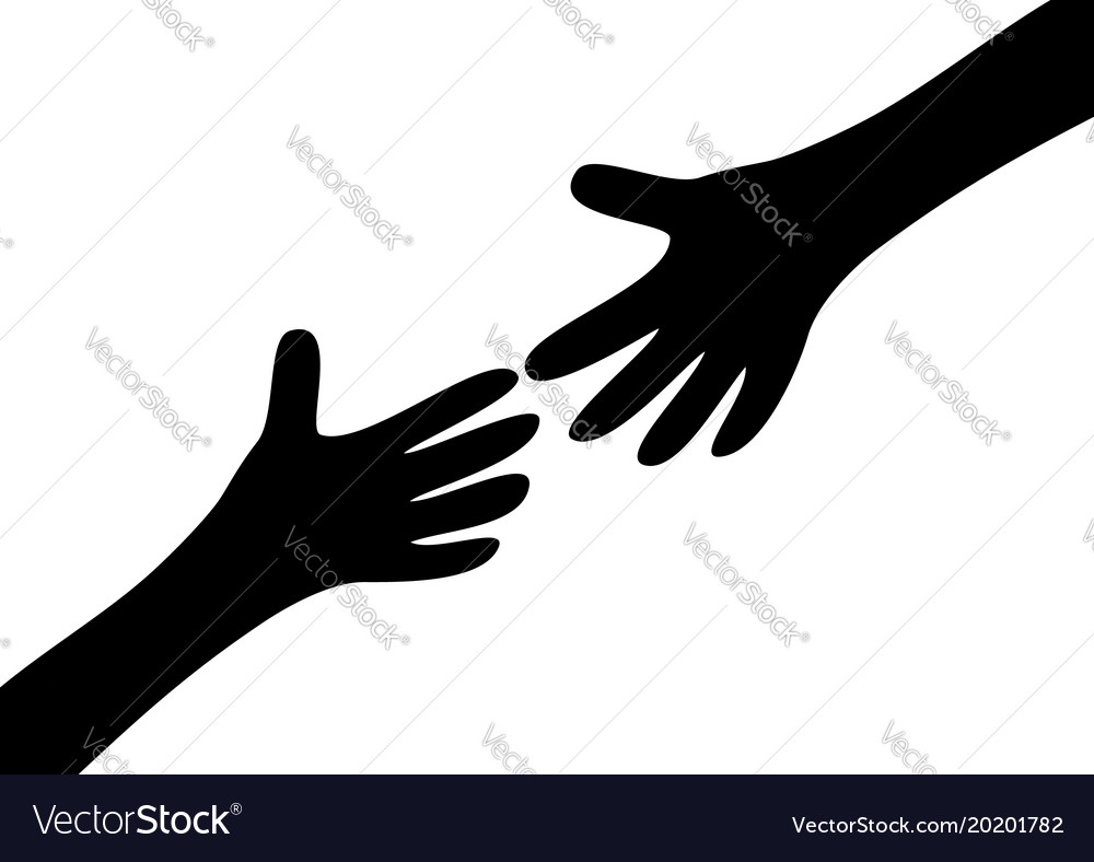 Two arms hands black silhouette reaching to each