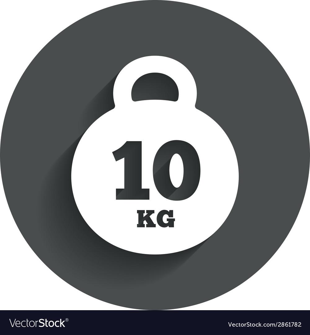 Weight Sign Icon 10 Kilogram Kg Sport Symbol Vector Image