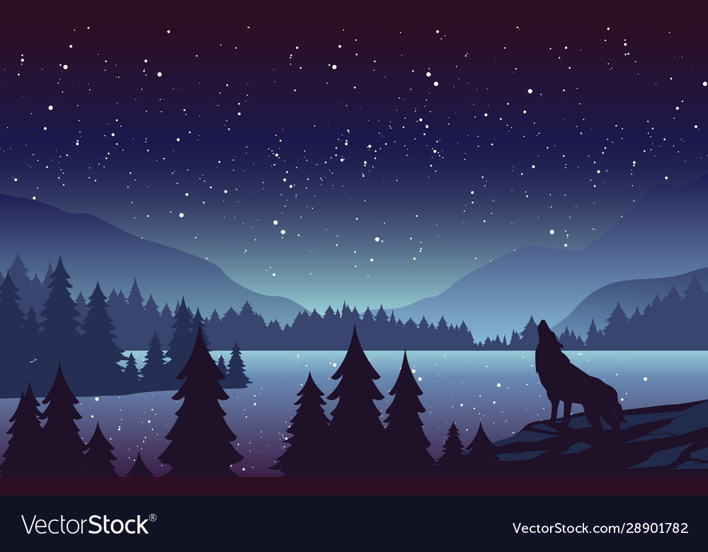 Wolf in mountains landscape flat