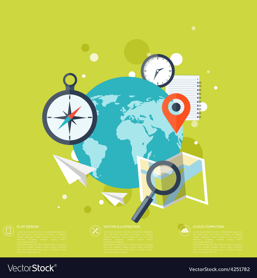World travel concept background Flat icons