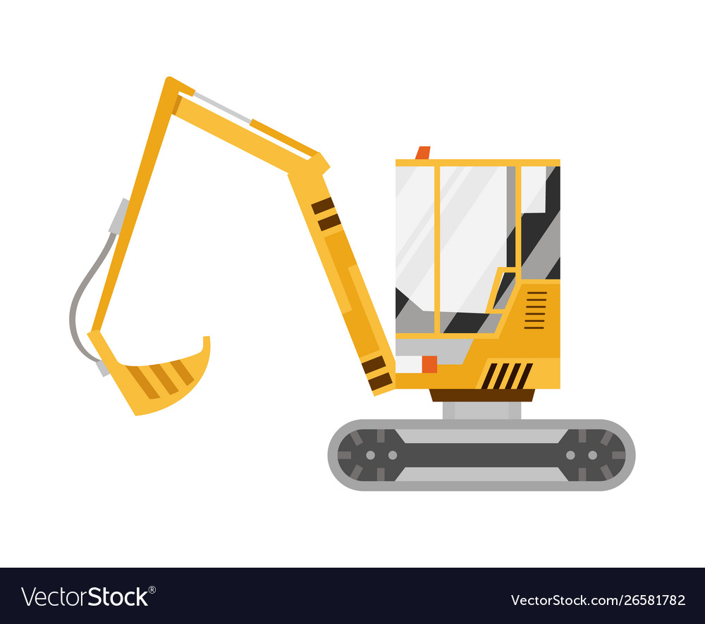 Yellow excavator isolated on white background