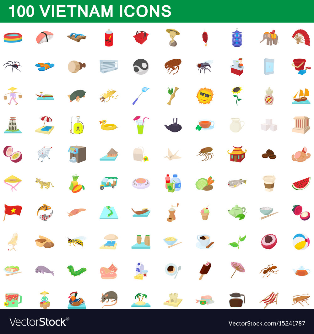 100 vietnam icons set cartoon style