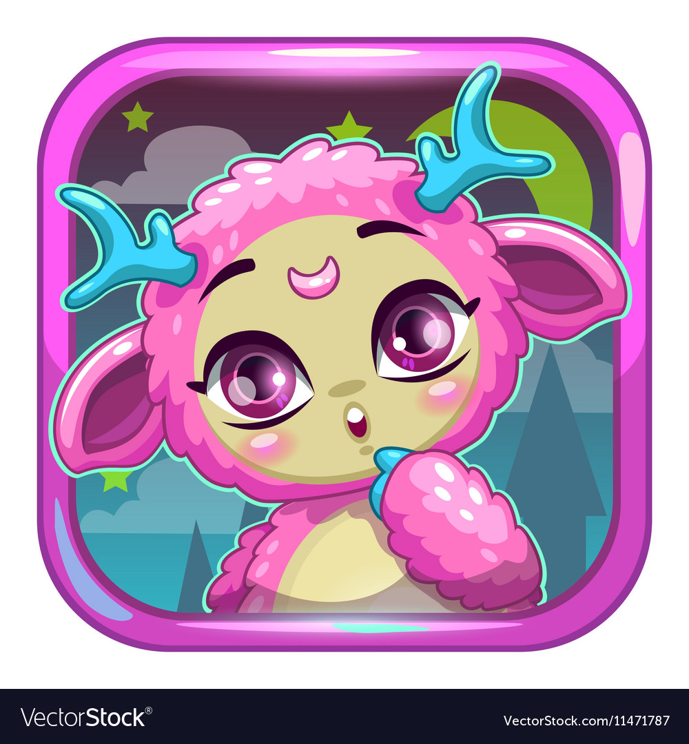 App icon with cute pink fluffy monster vector image