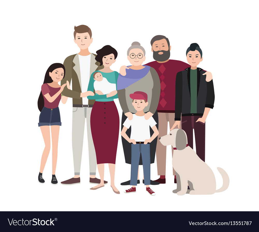 Big family portrait happy people with relatives