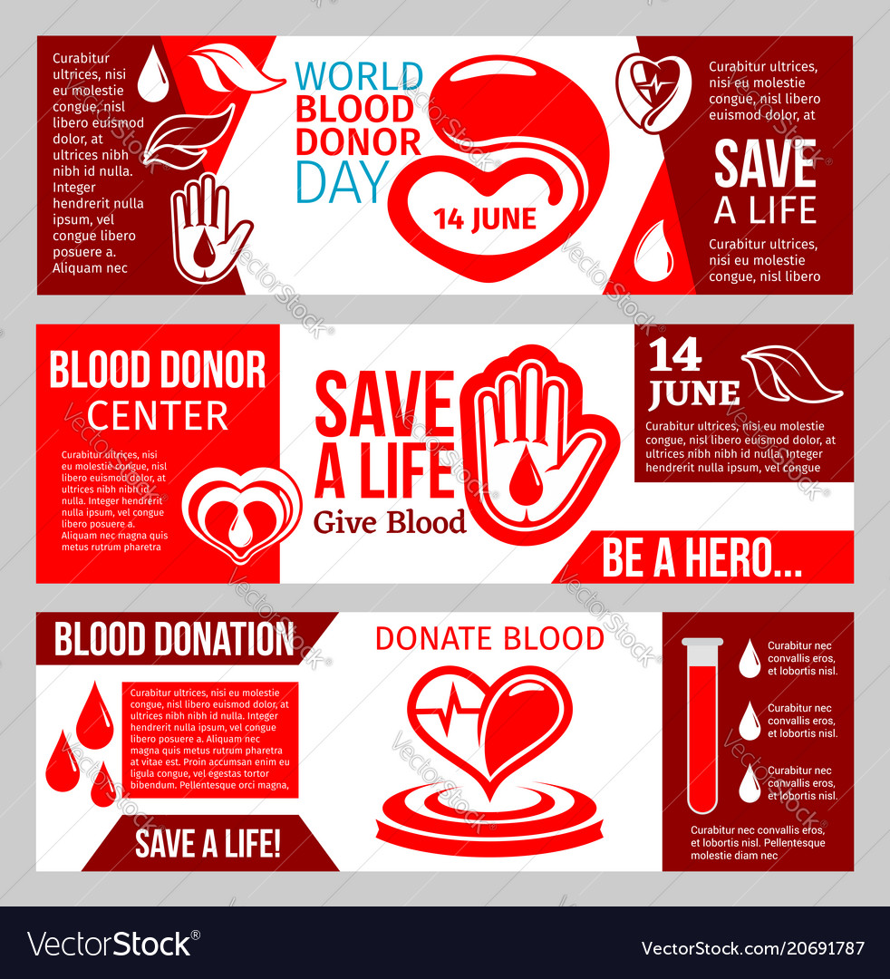 Blood donor center banner for health charity