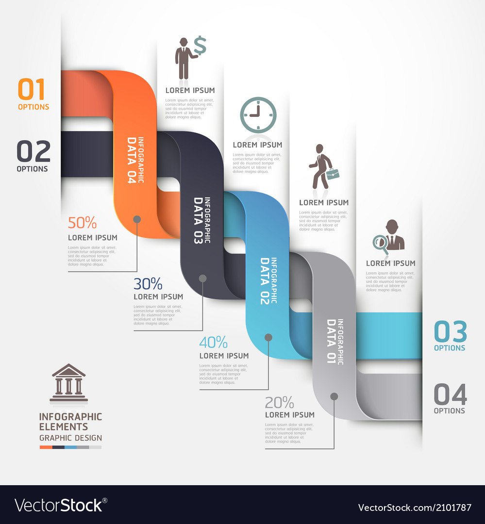 Business infographic ribbon style template