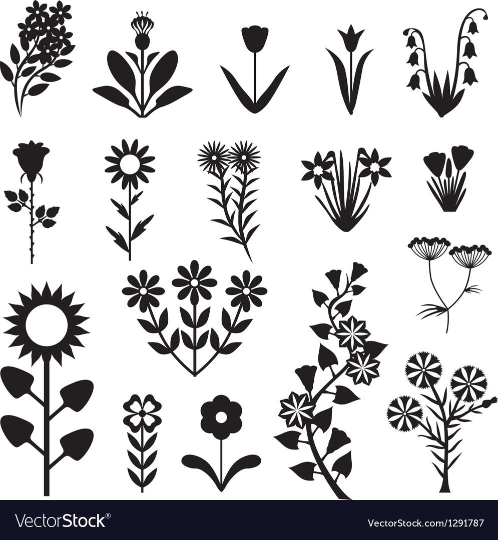 Flower set black