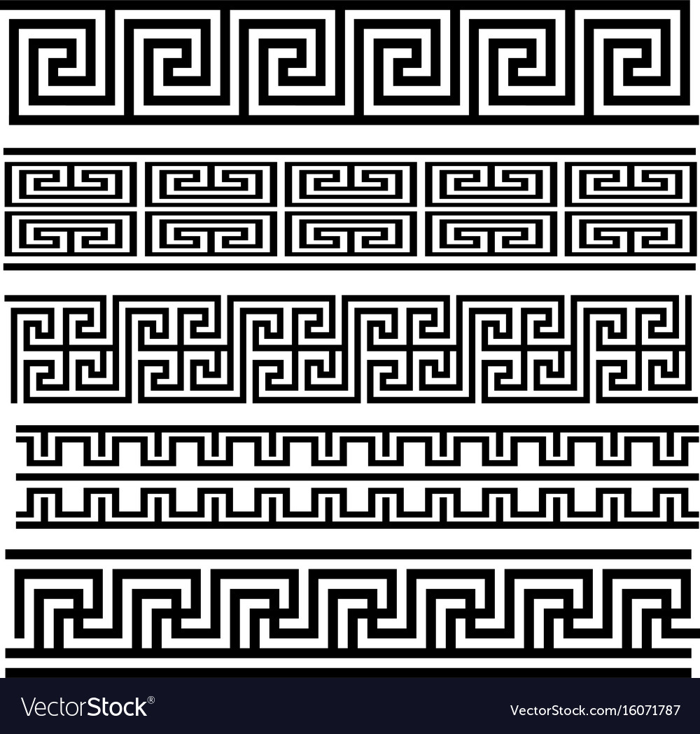 Greek key seamless pattern collection