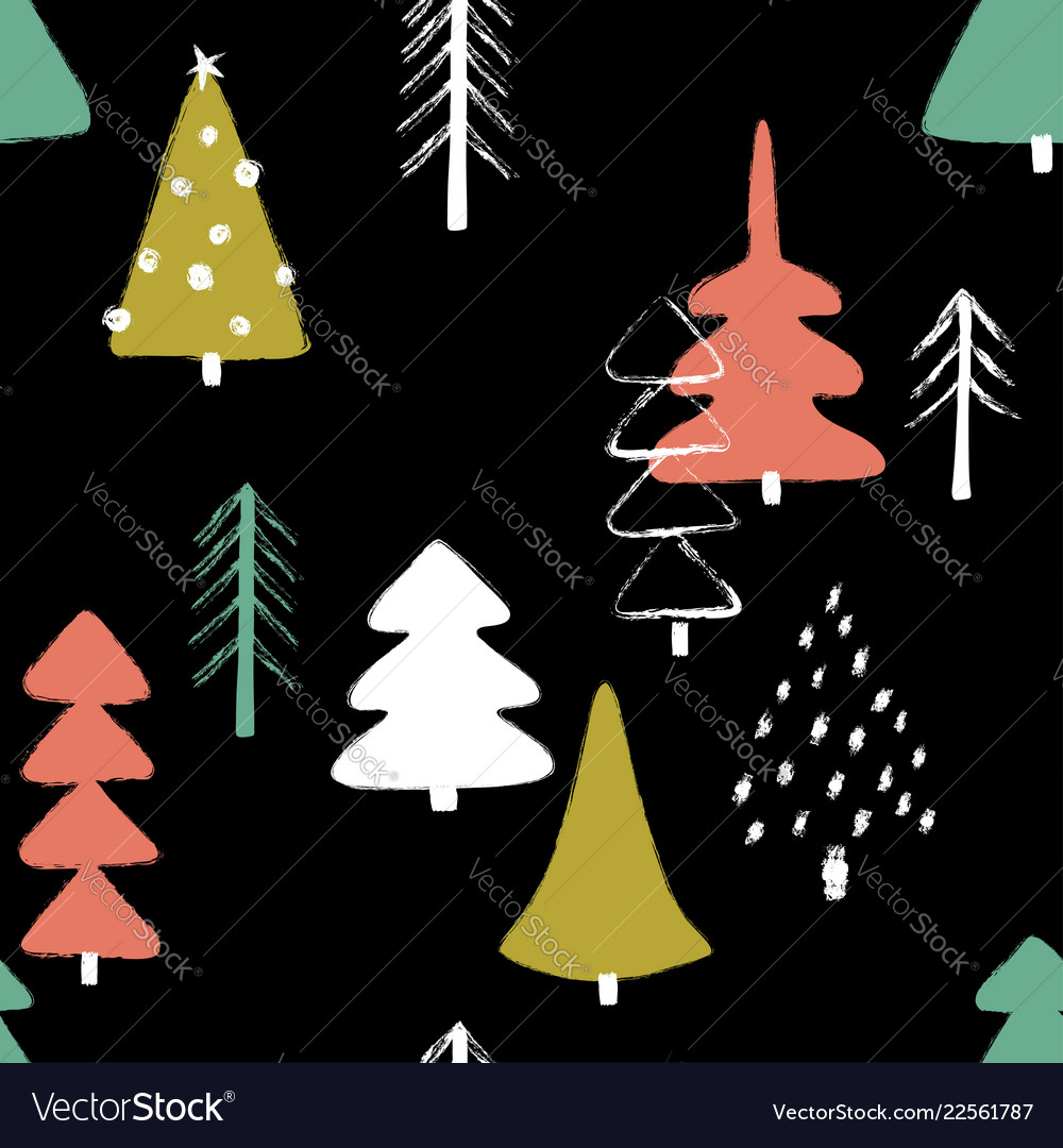 Grunge winter forest seamless pattern
