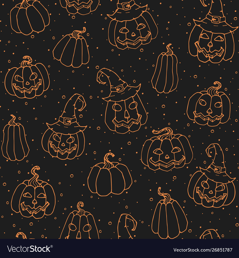 Halloween seamless pattern with smiling pumpkins