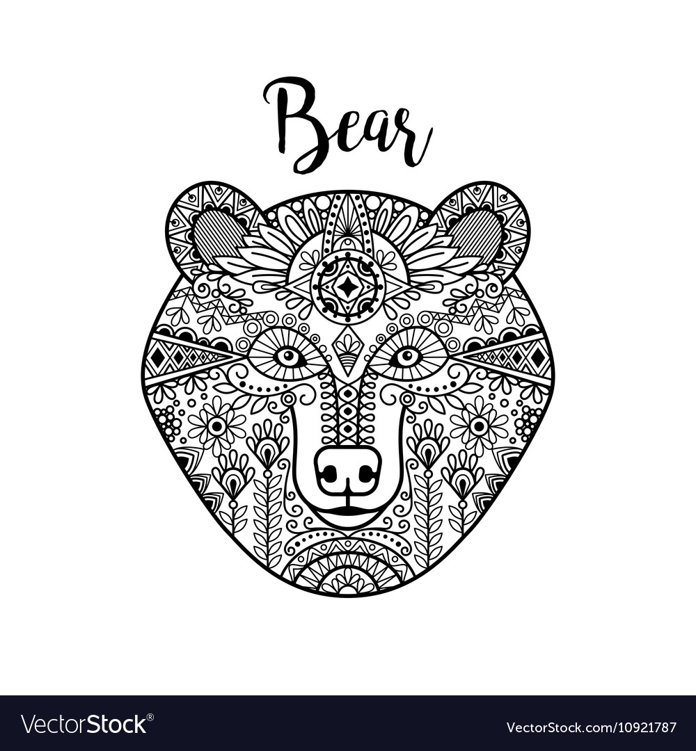 Hand drawn black doodle bear face vector image