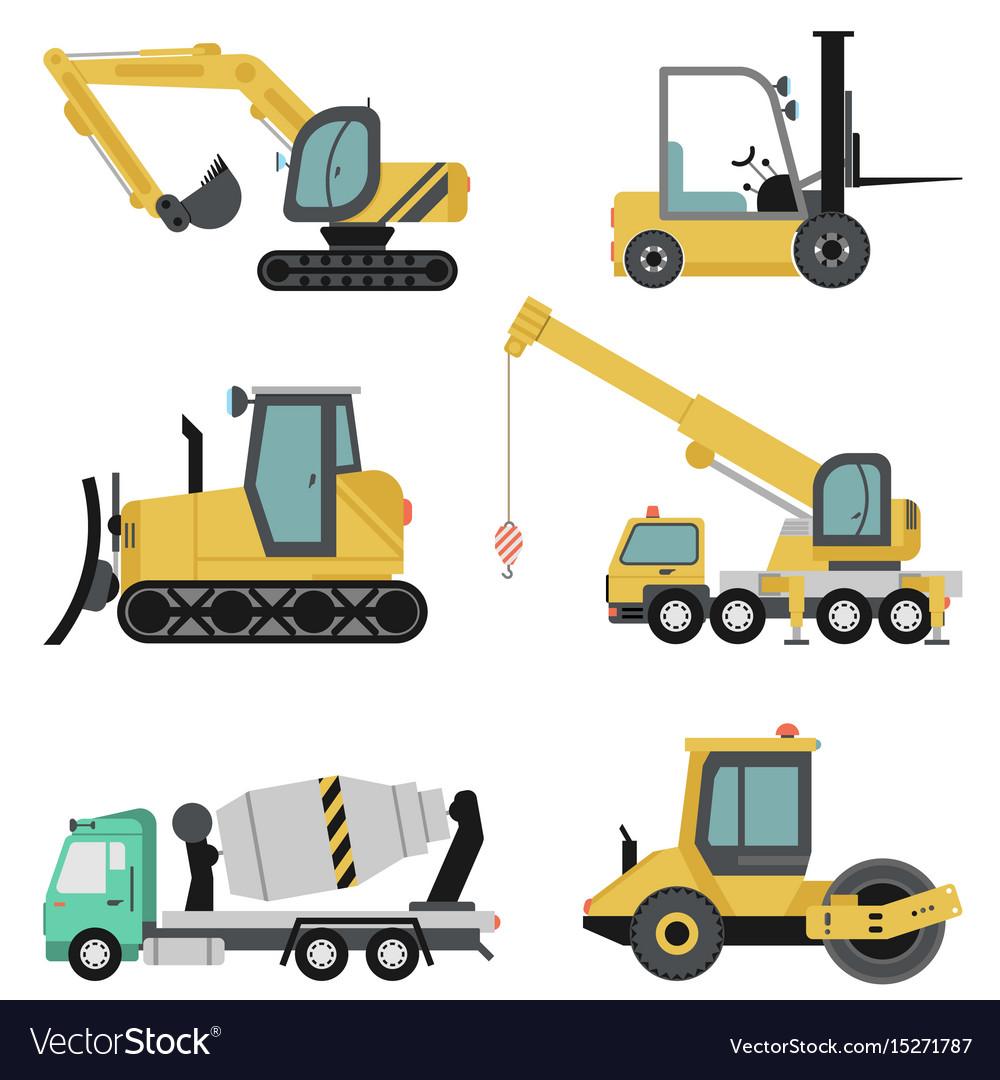 Heavy construction machinery flat icon set