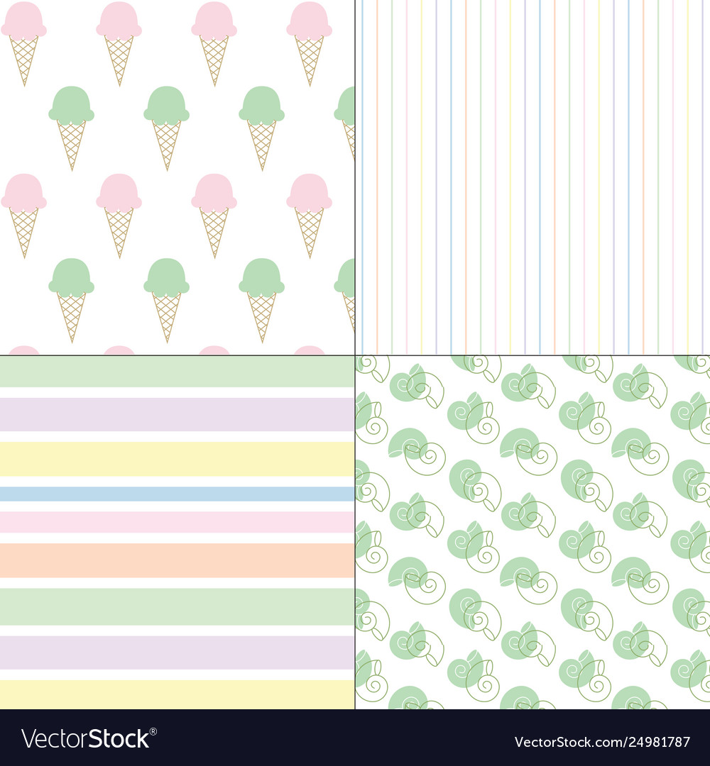 Ice cream shells and stripes pastel patterns
