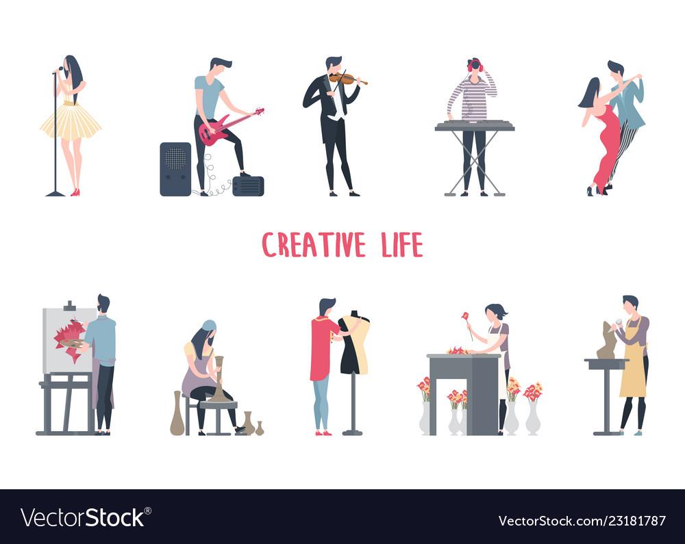 Man and woman at art job creative work