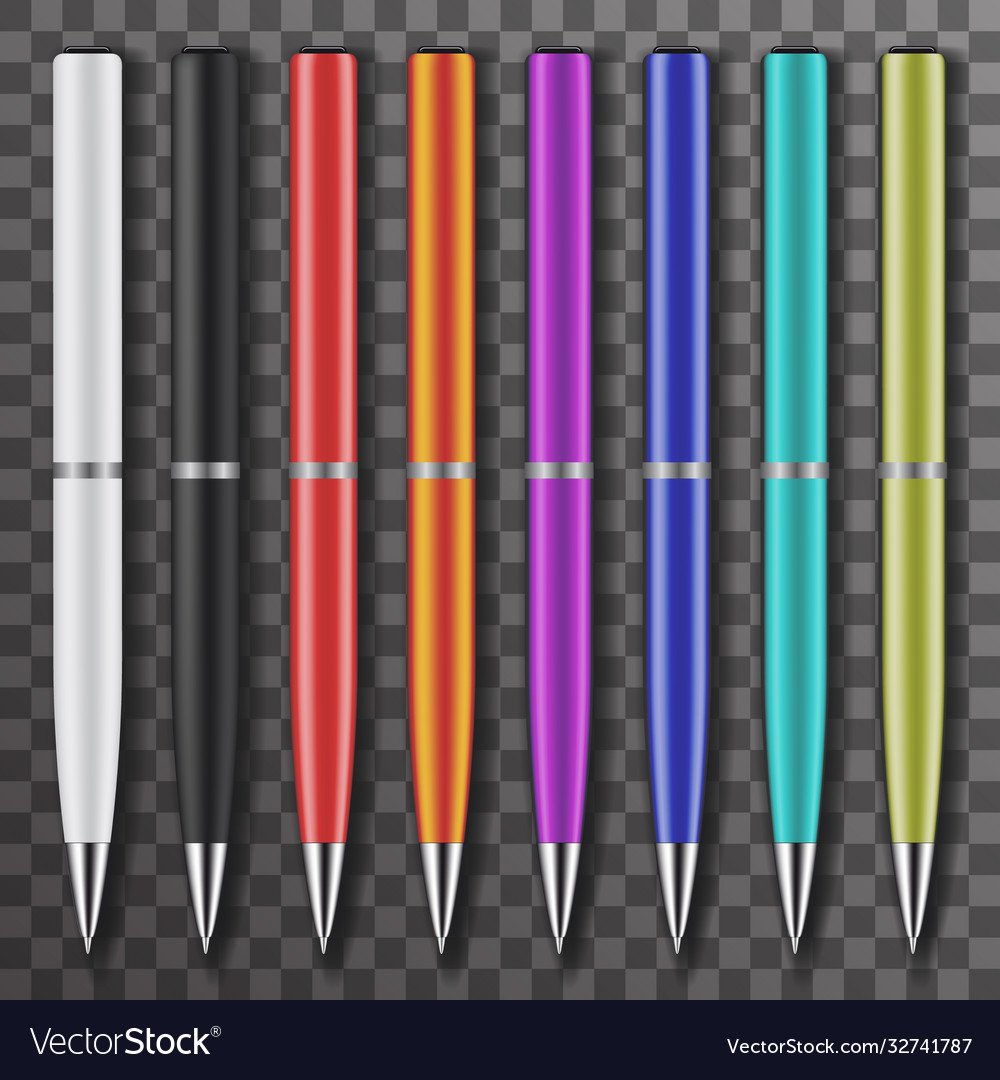 Set colored white and black pens set