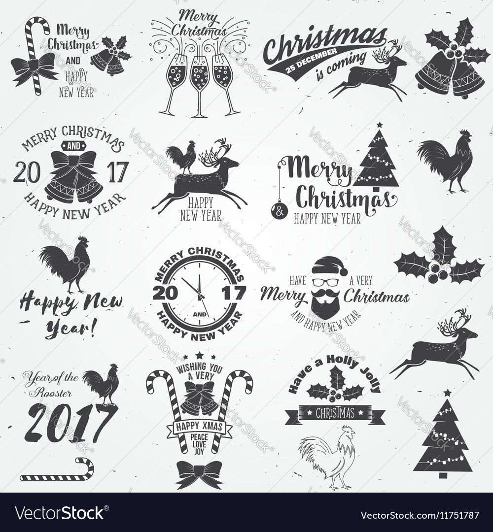 Set merry christmas and happy new year 2017