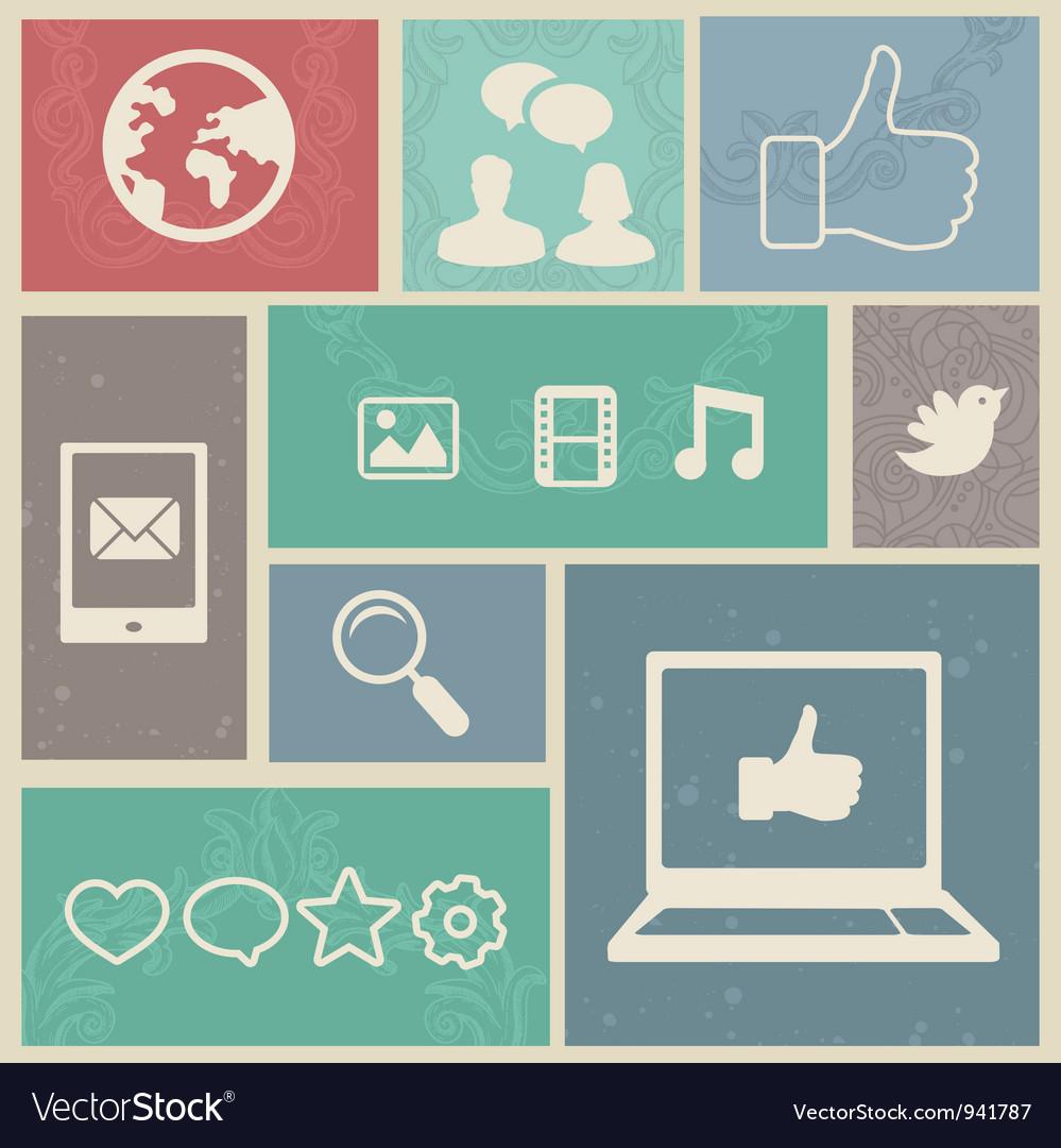Set with vintage social media labels vector image