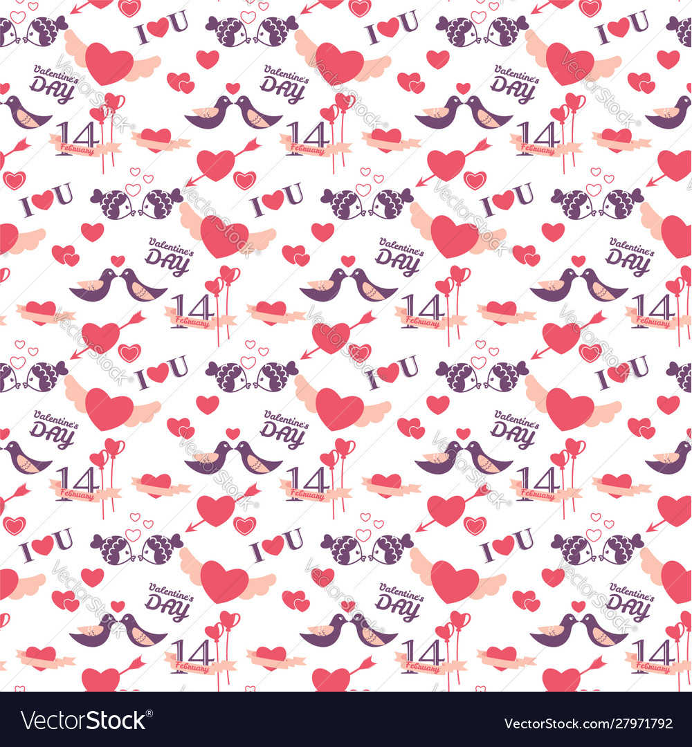 14 february valentines day seamless pattern