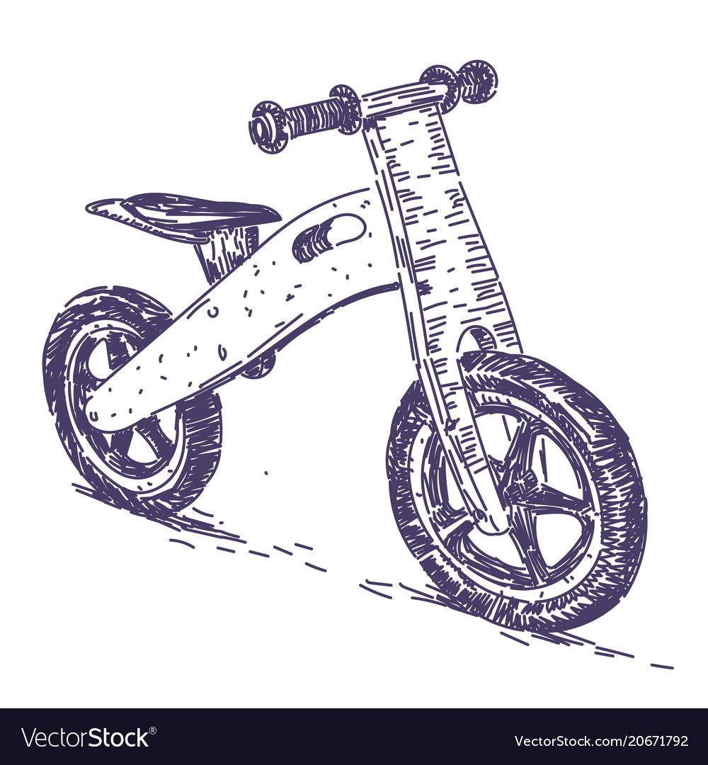 Balance bike hand drawn