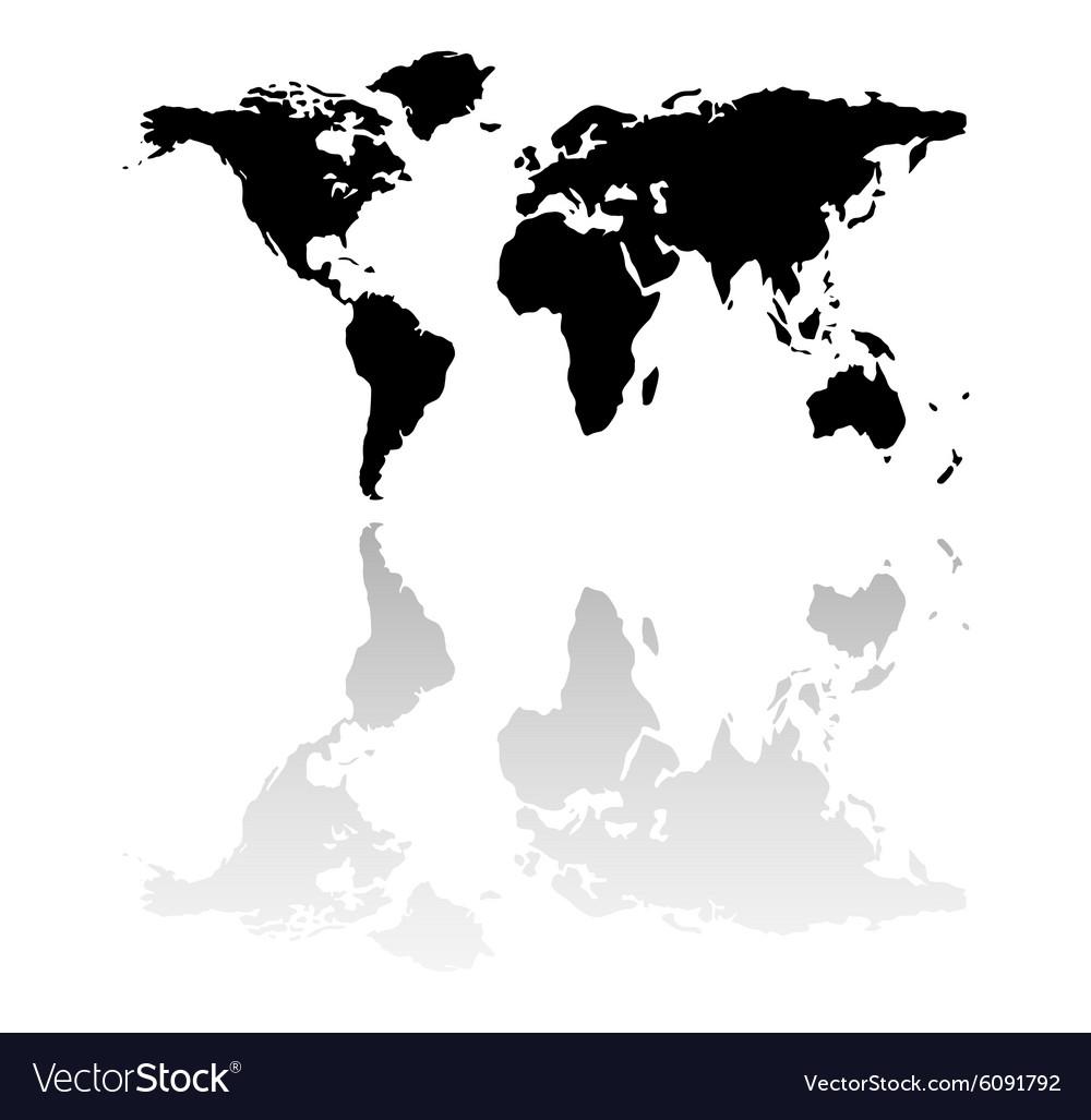 Black world map silhouette