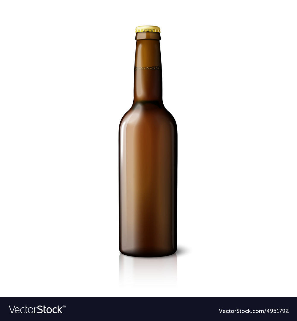 Blank brown realistic beer bottle isolated on
