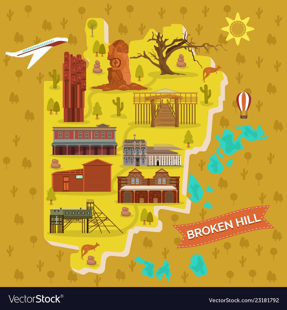 Map Of Australia With Landmarks.Broken Hills Map Australia Famous Landmarks