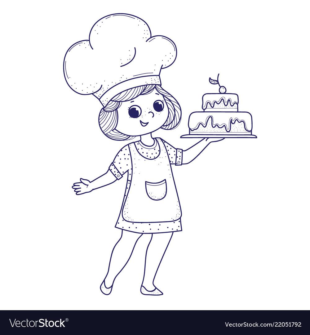 Cute girl for coloring book girl bakes a cake Vector Image