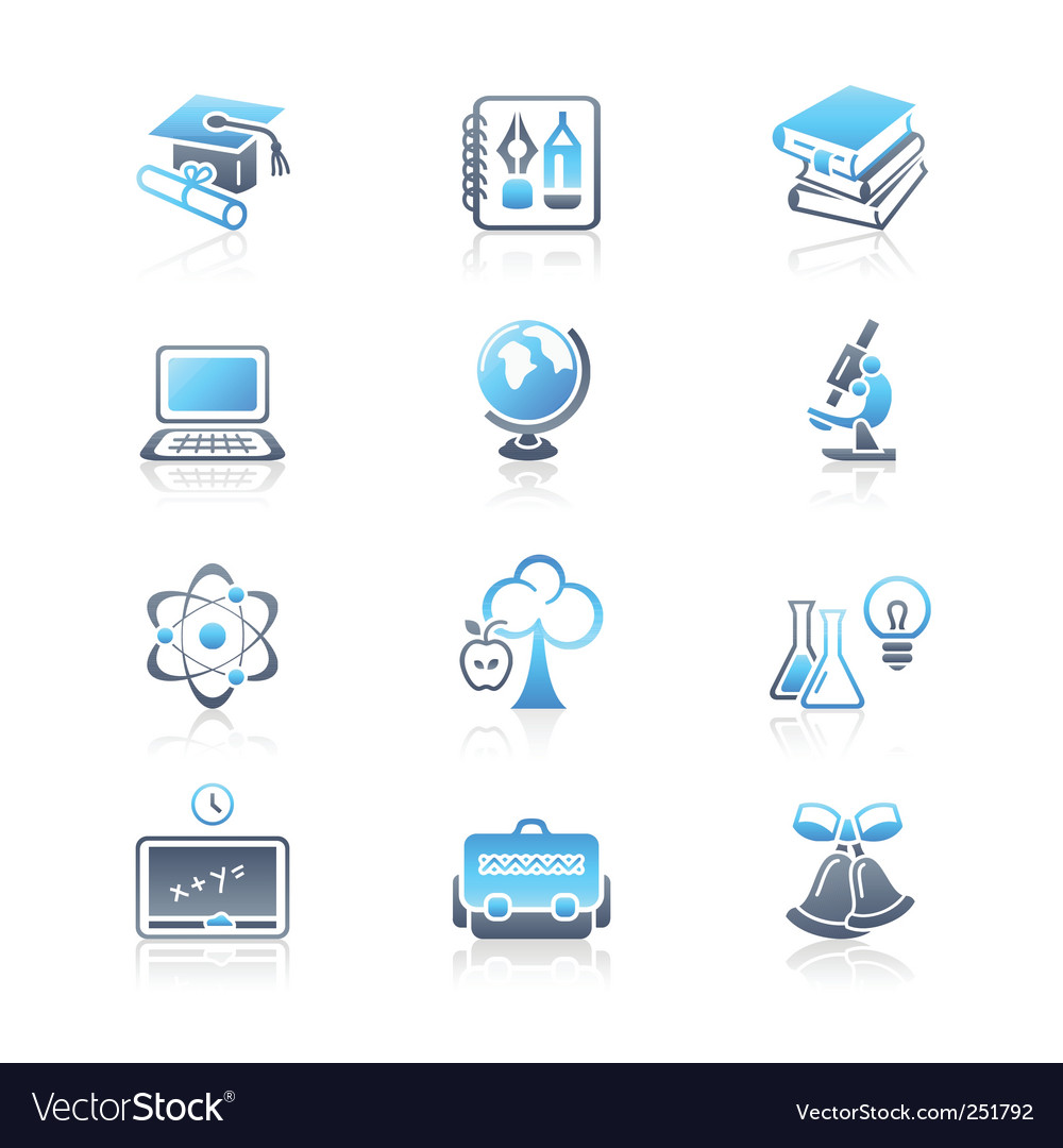 Education objects icons marine series