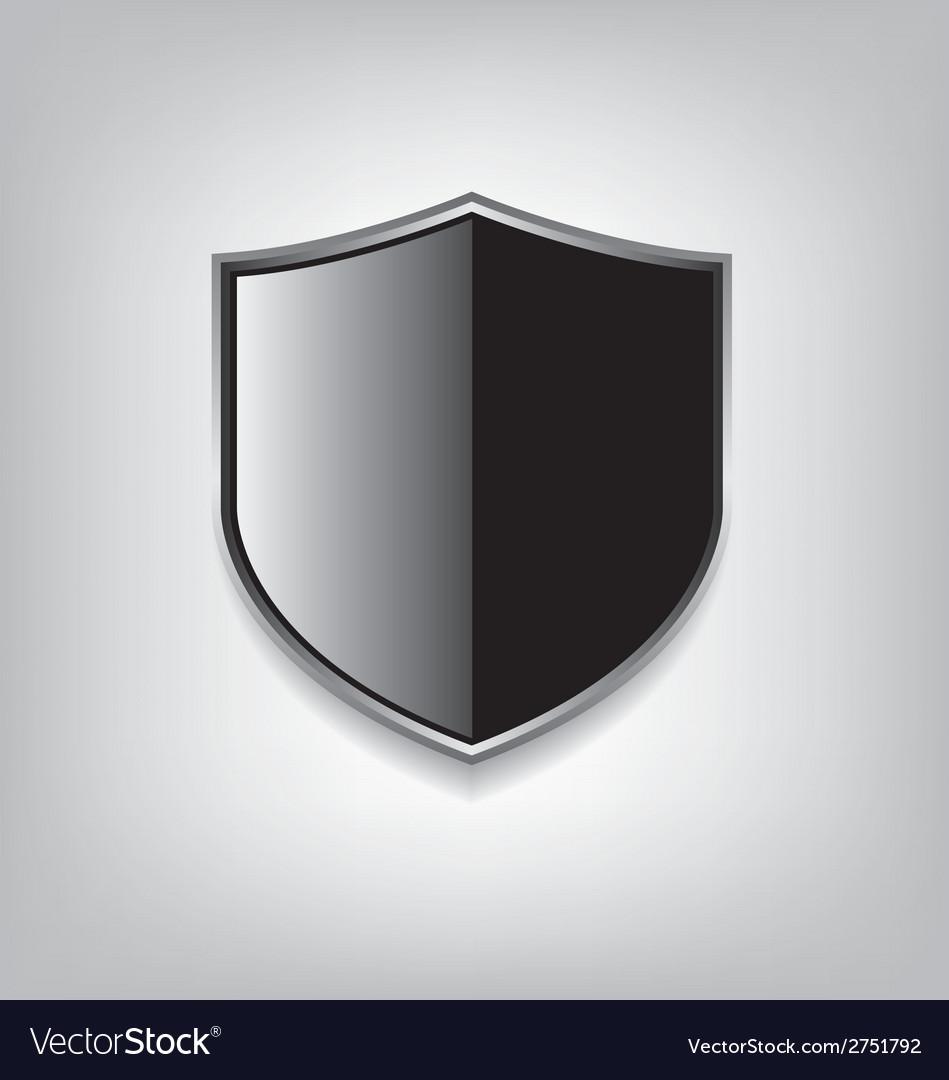Empty black shield vector image