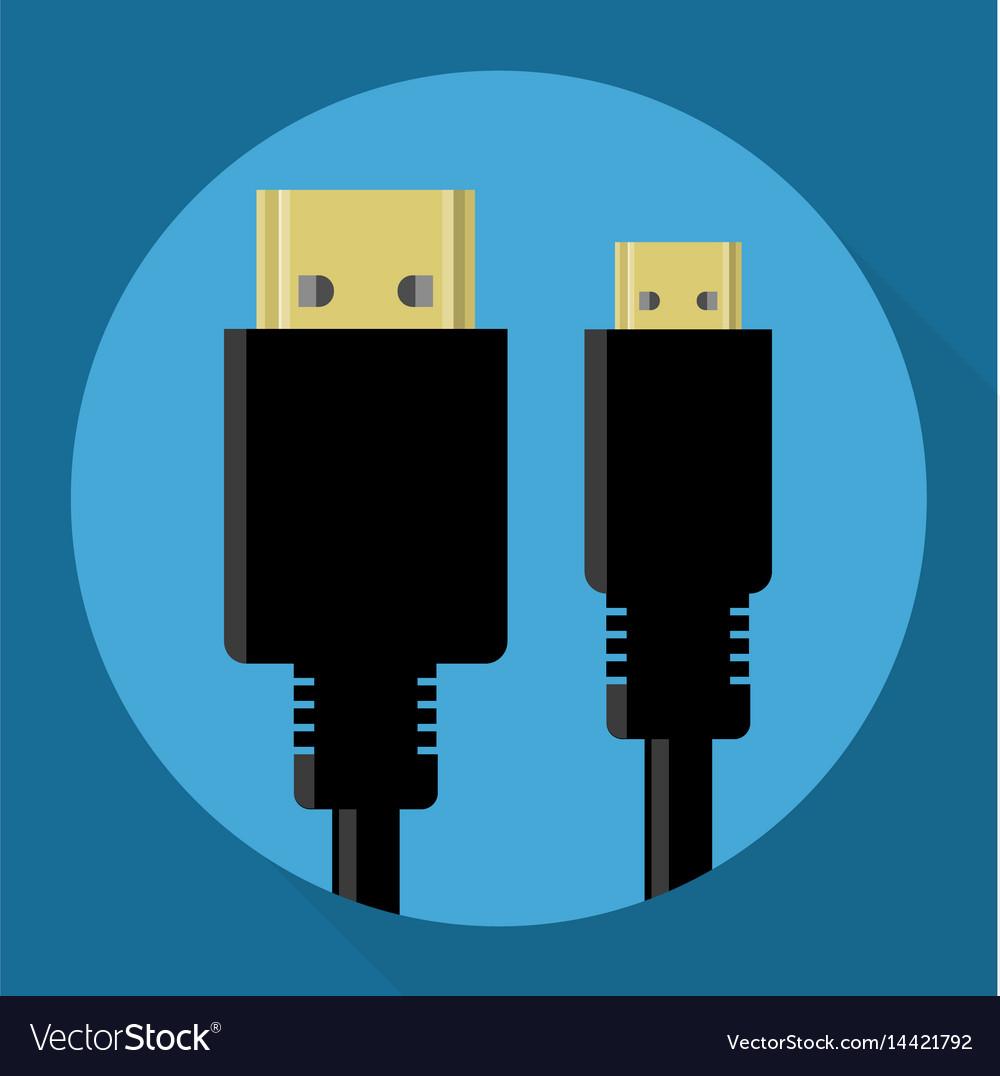 Hdmi connectors icon vector image