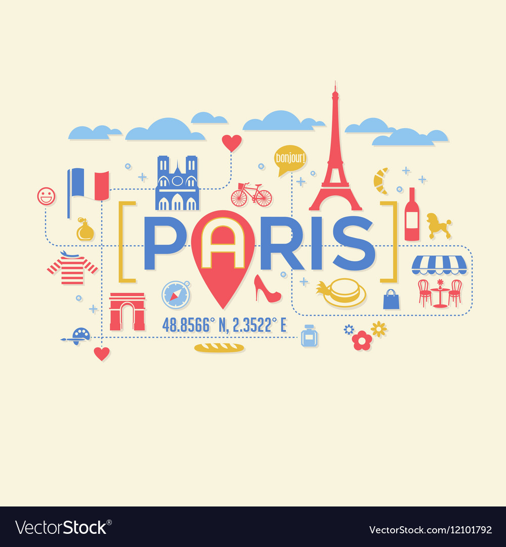 Paris France icons and typography design