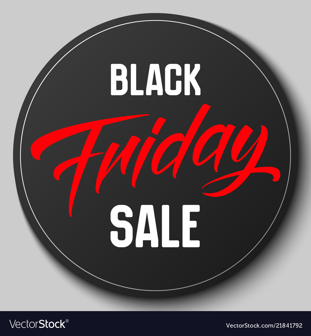 Round badge with black friday sale