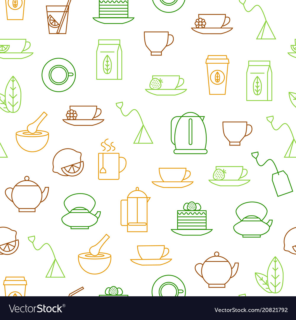 Tea related seamless pattern background
