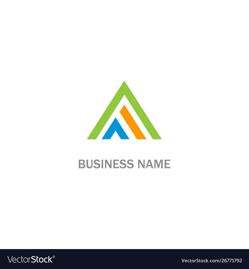 Triangle a initial line colored logo